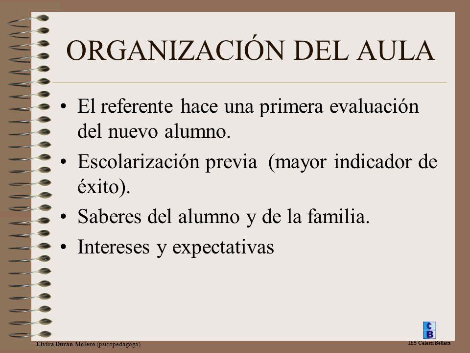 IES Celestí Bellera Elvira Durán Molero (psicopedagoga) ORGANIZACIÓN DEL AULA El referente hace una primera evaluación del nuevo alumno. Escolarizació