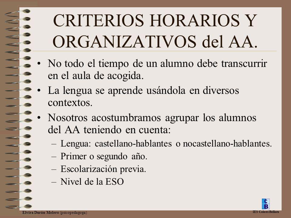 IES Celestí Bellera Elvira Durán Molero (psicopedagoga) CRITERIOS HORARIOS Y ORGANIZATIVOS del AA. No todo el tiempo de un alumno debe transcurrir en