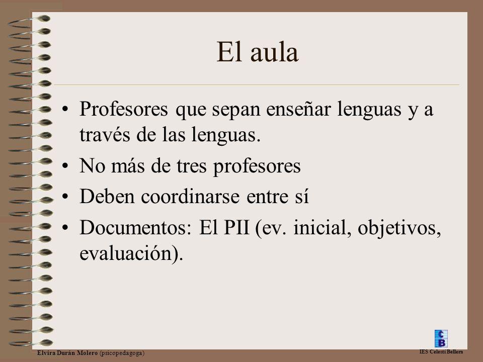 IES Celestí Bellera Elvira Durán Molero (psicopedagoga) El aula Profesores que sepan enseñar lenguas y a través de las lenguas. No más de tres profeso