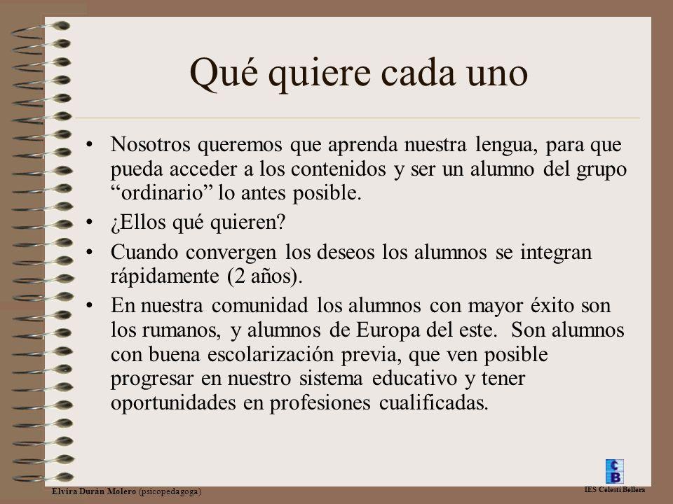 IES Celestí Bellera Elvira Durán Molero (psicopedagoga) Qué quiere cada uno Nosotros queremos que aprenda nuestra lengua, para que pueda acceder a los contenidos y ser un alumno del grupo ordinario lo antes posible.