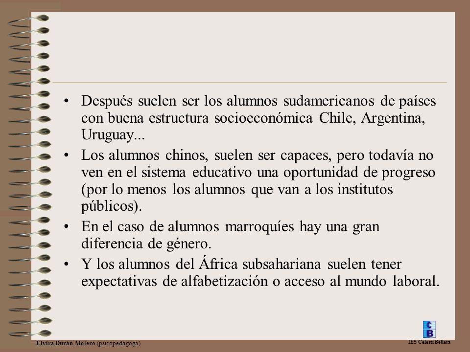 IES Celestí Bellera Elvira Durán Molero (psicopedagoga) Después suelen ser los alumnos sudamericanos de países con buena estructura socioeconómica Chile, Argentina, Uruguay...