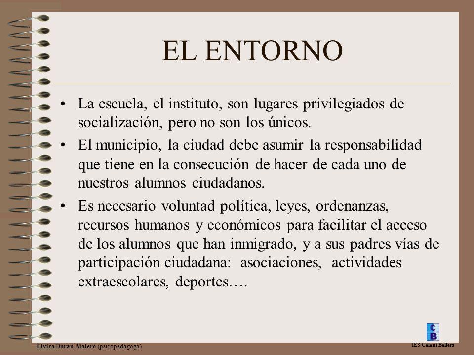 IES Celestí Bellera Elvira Durán Molero (psicopedagoga) EL ENTORNO La escuela, el instituto, son lugares privilegiados de socialización, pero no son los únicos.