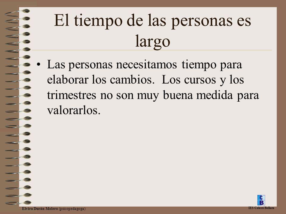 IES Celestí Bellera Elvira Durán Molero (psicopedagoga) El tiempo de las personas es largo Las personas necesitamos tiempo para elaborar los cambios.