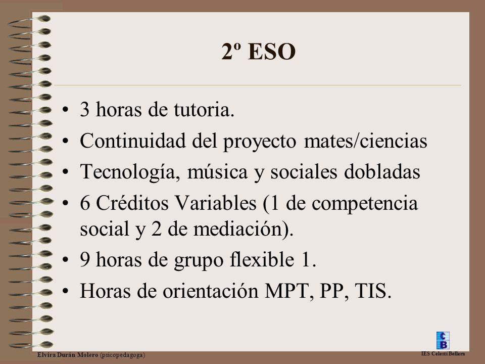 IES Celestí Bellera Elvira Durán Molero (psicopedagoga) 2º ESO 3 horas de tutoria. Continuidad del proyecto mates/ciencias Tecnología, música y social