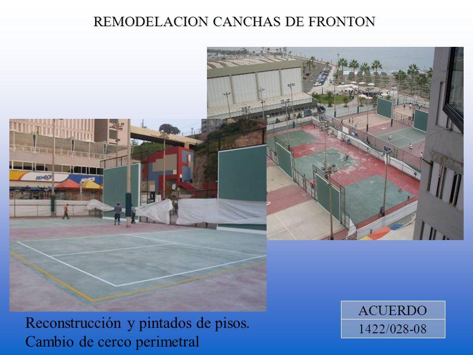 REMODELACION CANCHAS DE FRONTON ACUERDO 1422/028-08 Reconstrucción y pintados de pisos. Cambio de cerco perimetral