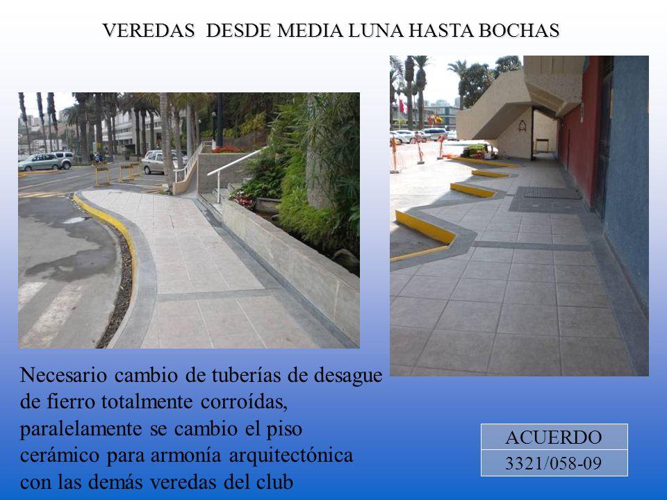 VEREDAS DESDE MEDIA LUNA HASTA BOCHAS ACUERDO 3321/058-09 Necesario cambio de tuberías de desague de fierro totalmente corroídas, paralelamente se cam