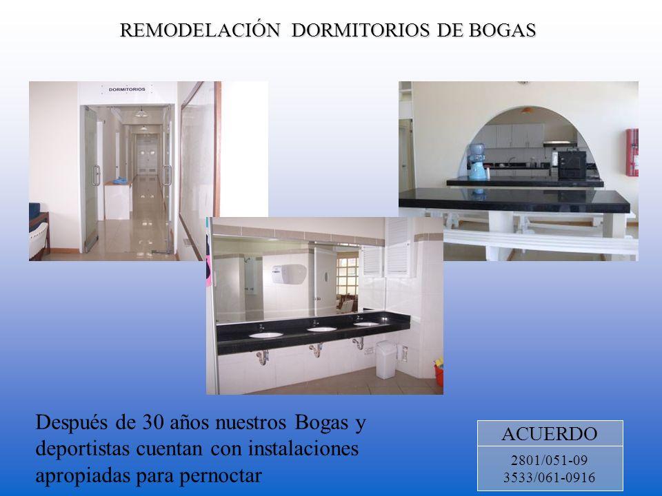 REMODELACIÓN DORMITORIOS DE BOGAS ACUERDO 2801/051-09 3533/061-0916 Después de 30 años nuestros Bogas y deportistas cuentan con instalaciones apropiad