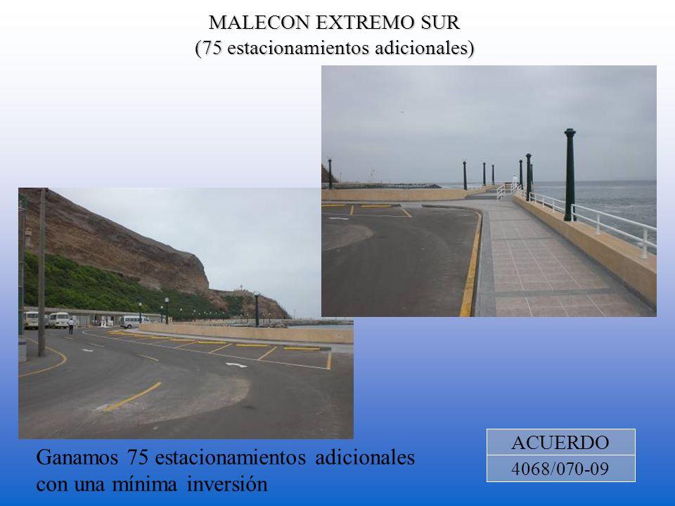 MALECON EXTREMO SUR (75 estacionamientos adicionales) ACUERDO 4068/070-09 Ganamos 75 estacionamientos adicionales con una mínima inversión