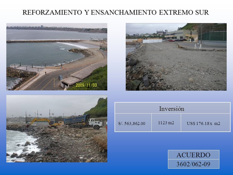 REFORZAMIENTO Y ENSANCHAMIENTO EXTREMO SUR ACUERDO 3602/062-09 1123 m2 Inversión US$ 176.18 x m2S/. 563,862.00