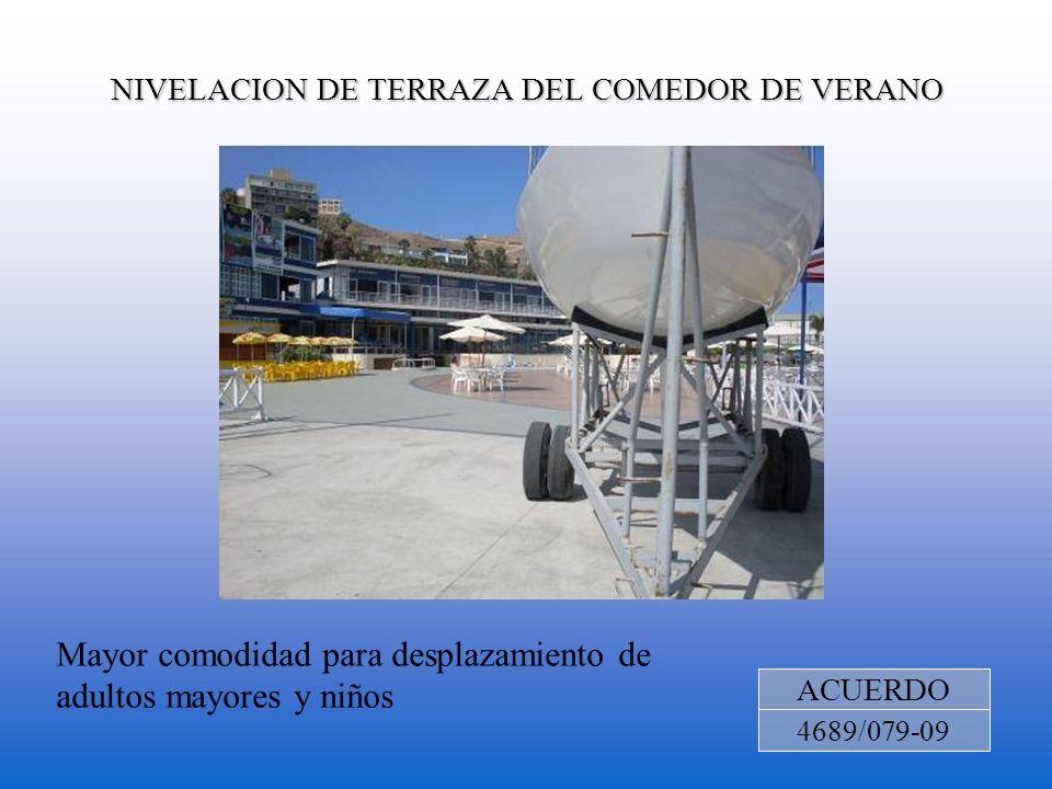 NIVELACION DE TERRAZA DEL COMEDOR DE VERANO ACUERDO 4689/079-09 Mayor comodidad para desplazamiento de adultos mayores y niños