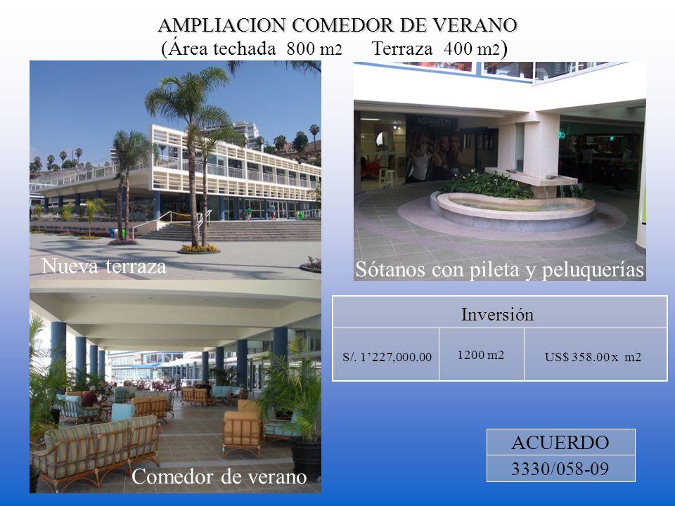 AMPLIACION COMEDOR DE VERANO (Área techada 800 m 2 Terraza 400 m 2 ) 1200 m2 Inversión US$ 358.00 x m2S/. 1227,000.00 ACUERDO 3330/058-09 Sótanos con