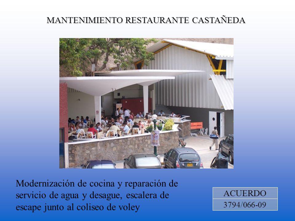MANTENIMIENTO RESTAURANTE CASTAÑEDA ACUERDO 3794/066-09 Modernización de cocina y reparación de servicio de agua y desague, escalera de escape junto a