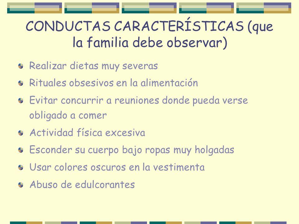 CONDUCTAS CARACTERÍSTICAS (que la familia debe observar) Realizar dietas muy severas Rituales obsesivos en la alimentación Evitar concurrir a reunione
