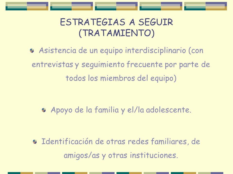 ESTRATEGIAS A SEGUIR (TRATAMIENTO) Asistencia de un equipo interdisciplinario (con entrevistas y seguimiento frecuente por parte de todos los miembros del equipo) Apoyo de la familia y el/la adolescente.