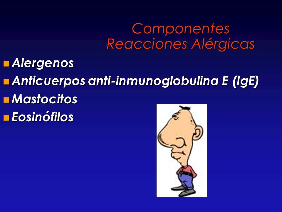 Componentes Reacciones Alérgicas Alergenos Alergenos Anticuerpos anti-inmunoglobulina E (IgE) Anticuerpos anti-inmunoglobulina E (IgE) Mastocitos Mast