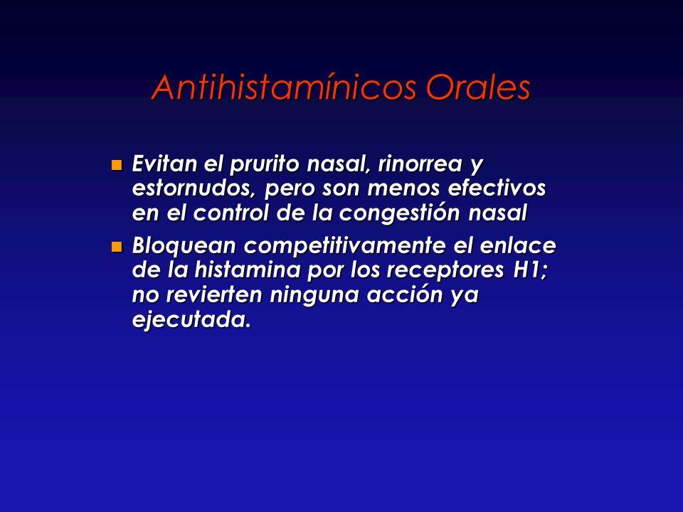 Antihistamínicos Orales Evitan el prurito nasal, rinorrea y estornudos, pero son menos efectivos en el control de la congestión nasal Evitan el prurit