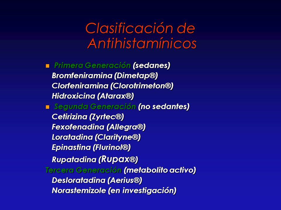 Clasificación de Antihistamínicos Primera Generación (sedanes) Primera Generación (sedanes) Bromfeniramina (Dimetap®) Bromfeniramina (Dimetap®) Clorfe