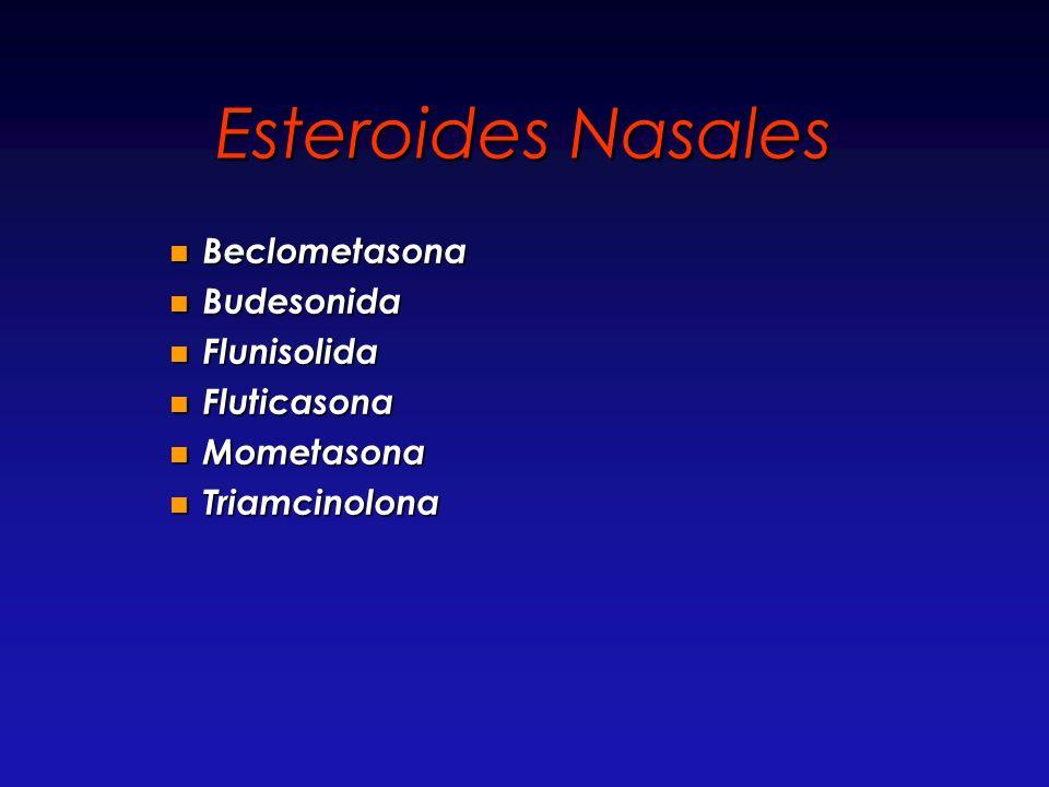 Esteroides Nasales Beclometasona Beclometasona Budesonida Budesonida Flunisolida Flunisolida Fluticasona Fluticasona Mometasona Mometasona Triamcinolo