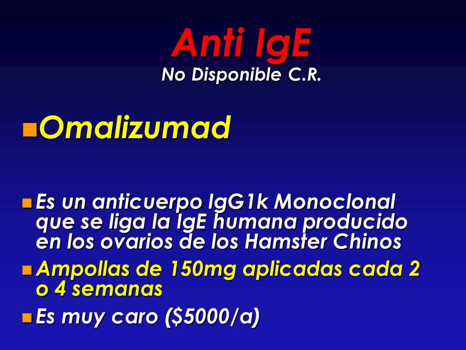 Anti IgE No Disponible C.R. Omalizumad Omalizumad Es un anticuerpo IgG1k Monoclonal que se liga la IgE humana producido en los ovarios de los Hamster