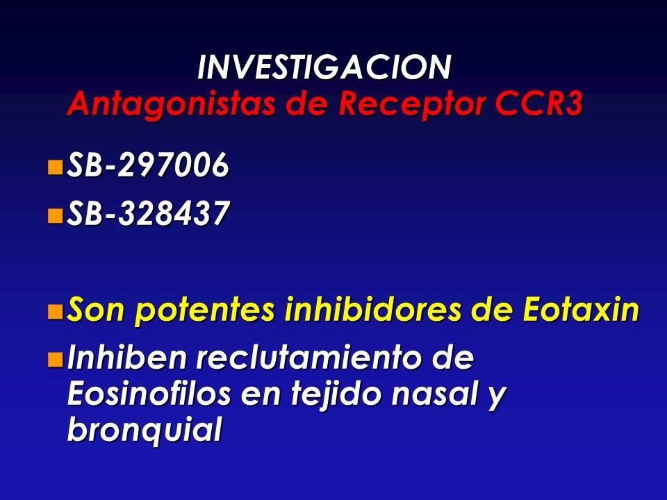 INVESTIGACION Antagonistas de Receptor CCR3 SB-297006 SB-297006 SB-328437 SB-328437 Son potentes inhibidores de Eotaxin Son potentes inhibidores de Eo