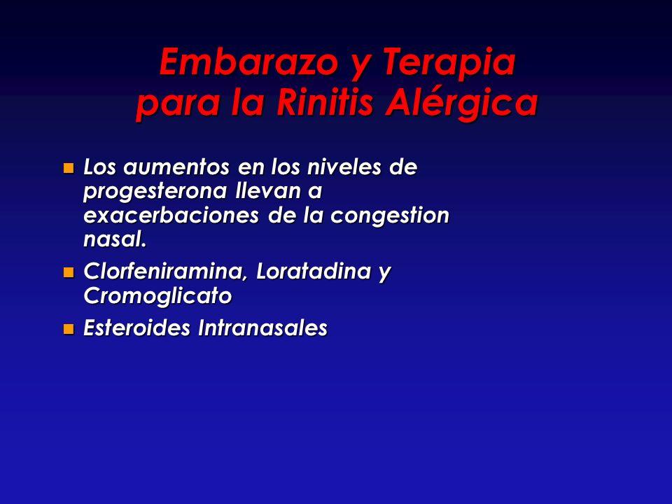 Embarazo y Terapia para la Rinitis Alérgica Los aumentos en los niveles de progesterona llevan a exacerbaciones de la congestion nasal. Los aumentos e