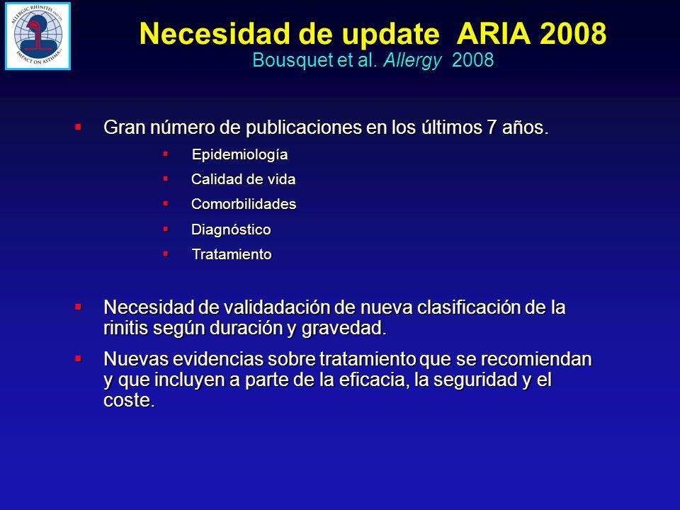 Necesidad de update ARIA 2008 Bousquet et al. Allergy 2008 Gran número de publicaciones en los últimos 7 años. Gran número de publicaciones en los últ
