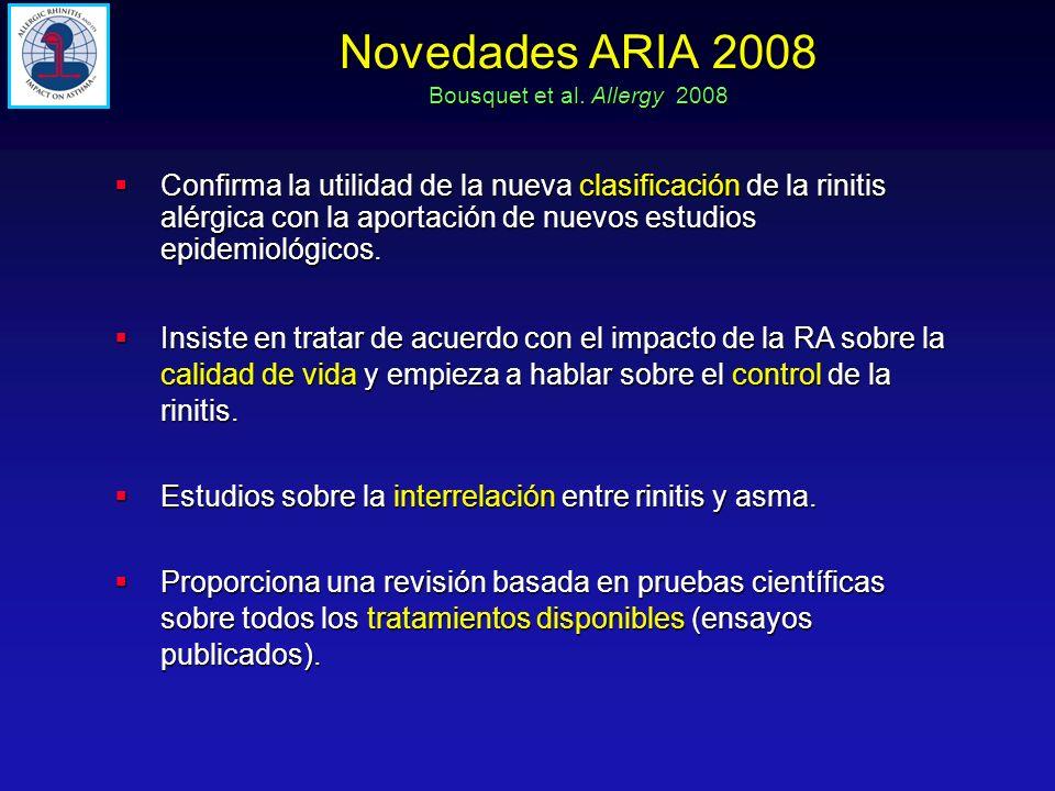 Novedades ARIA 2008 Bousquet et al. Allergy 2008 Confirma la utilidad de la nueva clasificación de la rinitis alérgica con la aportación de nuevos est