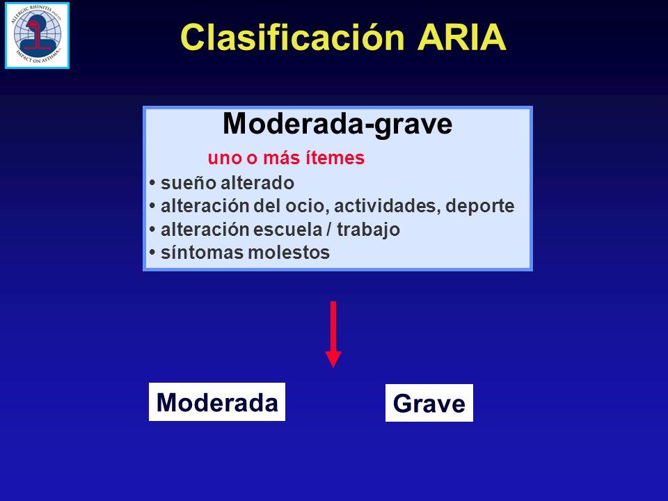 Clasificación ARIA Moderada-grave uno o más ítemes sueño alterado alteración del ocio, actividades, deporte alteración escuela / trabajo síntomas mole