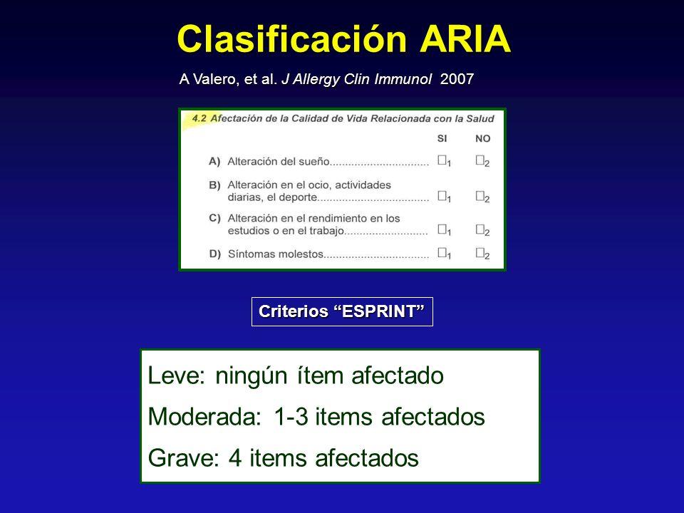 Leve: ningún ítem afectado Moderada: 1-3 items afectados Grave: 4 items afectados Criterios ESPRINT A Valero, et al. J Allergy Clin Immunol 2007 Clasi
