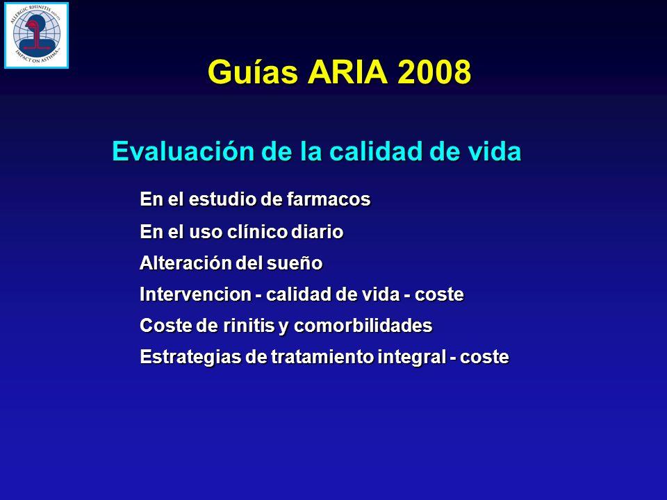 Evaluación de la calidad de vida En el estudio de farmacos En el uso clínico diario Alteración del sueño Intervencion - calidad de vida - coste Coste