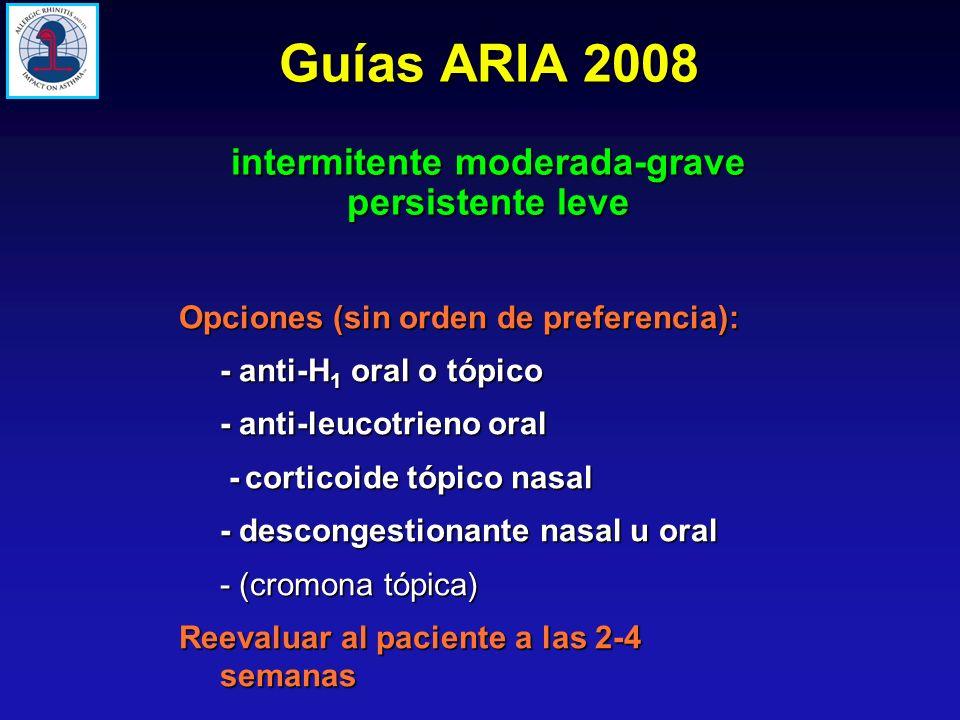 Opciones (sin orden de preferencia): - anti-H 1 oral o tópico - anti-leucotrieno oral -corticoide tópico nasal - descongestionante nasal u oral - (cro