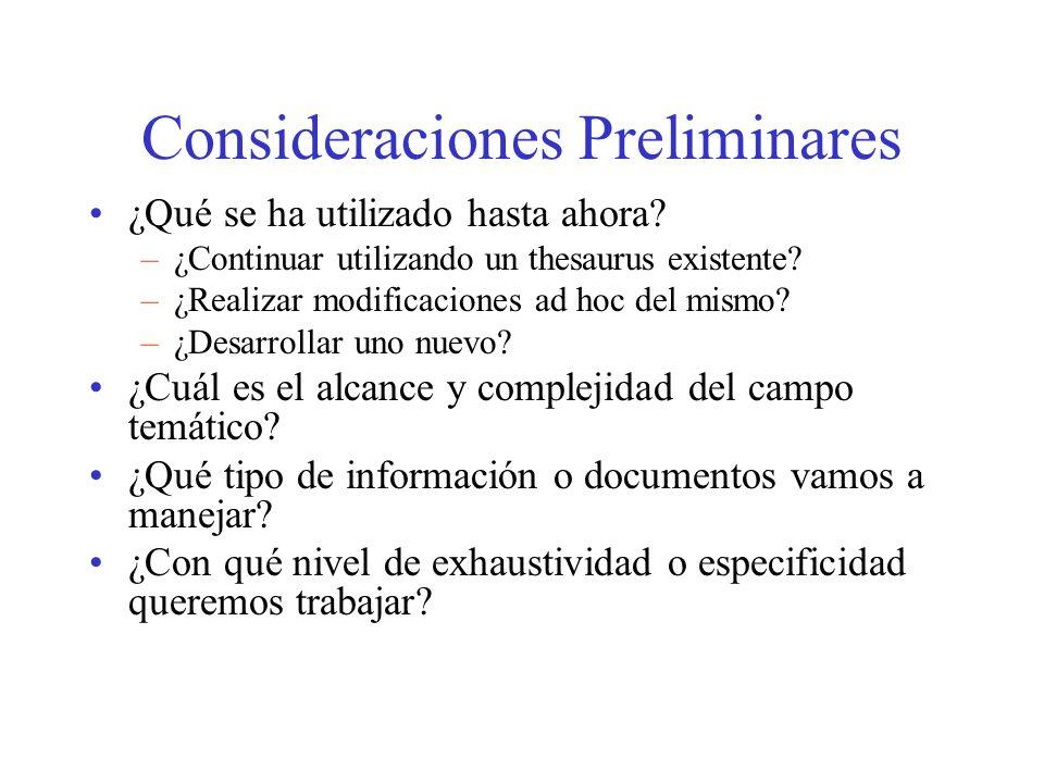 Consideraciones Preliminares ¿Qué se ha utilizado hasta ahora? –¿Continuar utilizando un thesaurus existente? –¿Realizar modificaciones ad hoc del mis