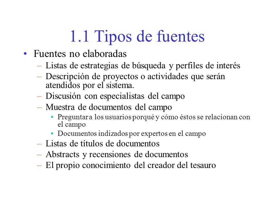 1.1 Tipos de fuentes Fuentes no elaboradas –Listas de estrategias de búsqueda y perfiles de interés –Descripción de proyectos o actividades que serán atendidos por el sistema.