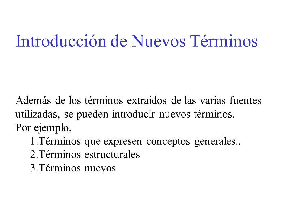 Introducción de Nuevos Términos Además de los términos extraídos de las varias fuentes utilizadas, se pueden introducir nuevos términos. Por ejemplo,