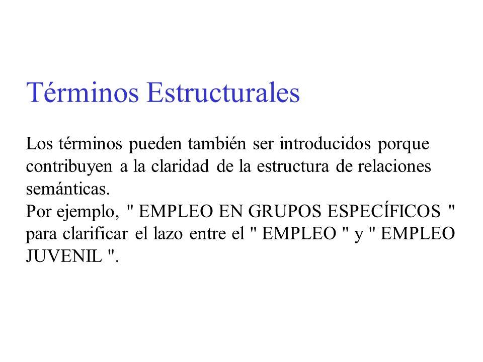 Términos Estructurales Los términos pueden también ser introducidos porque contribuyen a la claridad de la estructura de relaciones semánticas. Por ej
