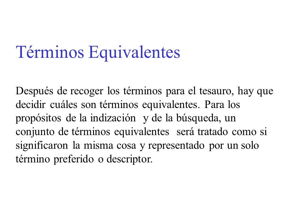 Términos Equivalentes Después de recoger los términos para el tesauro, hay que decidir cuáles son términos equivalentes. Para los propósitos de la ind
