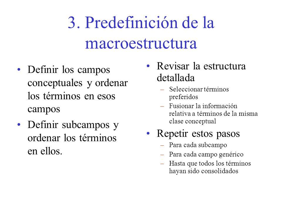 3. Predefinición de la macroestructura Definir los campos conceptuales y ordenar los términos en esos campos Definir subcampos y ordenar los términos