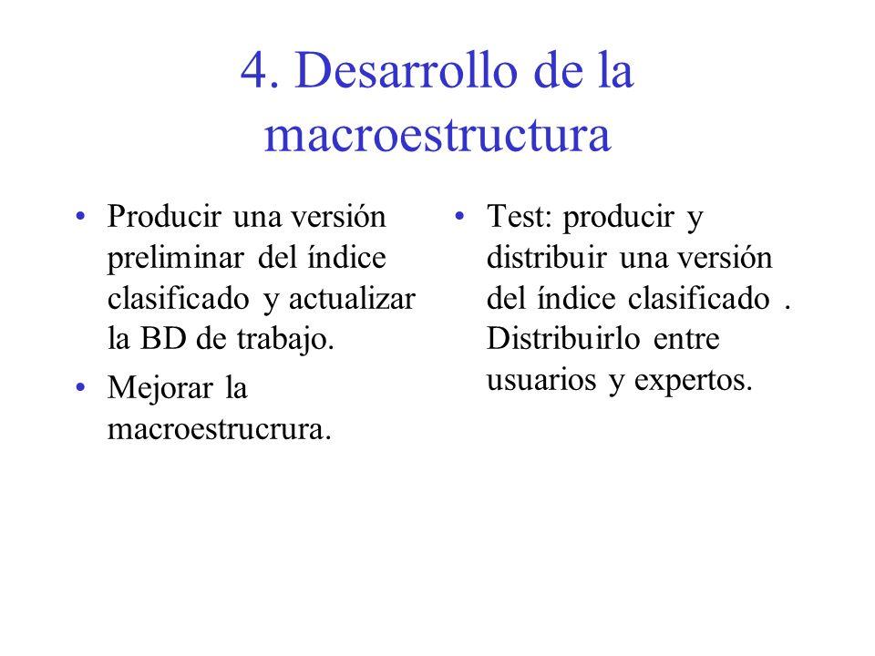 4. Desarrollo de la macroestructura Producir una versión preliminar del índice clasificado y actualizar la BD de trabajo. Mejorar la macroestrucrura.