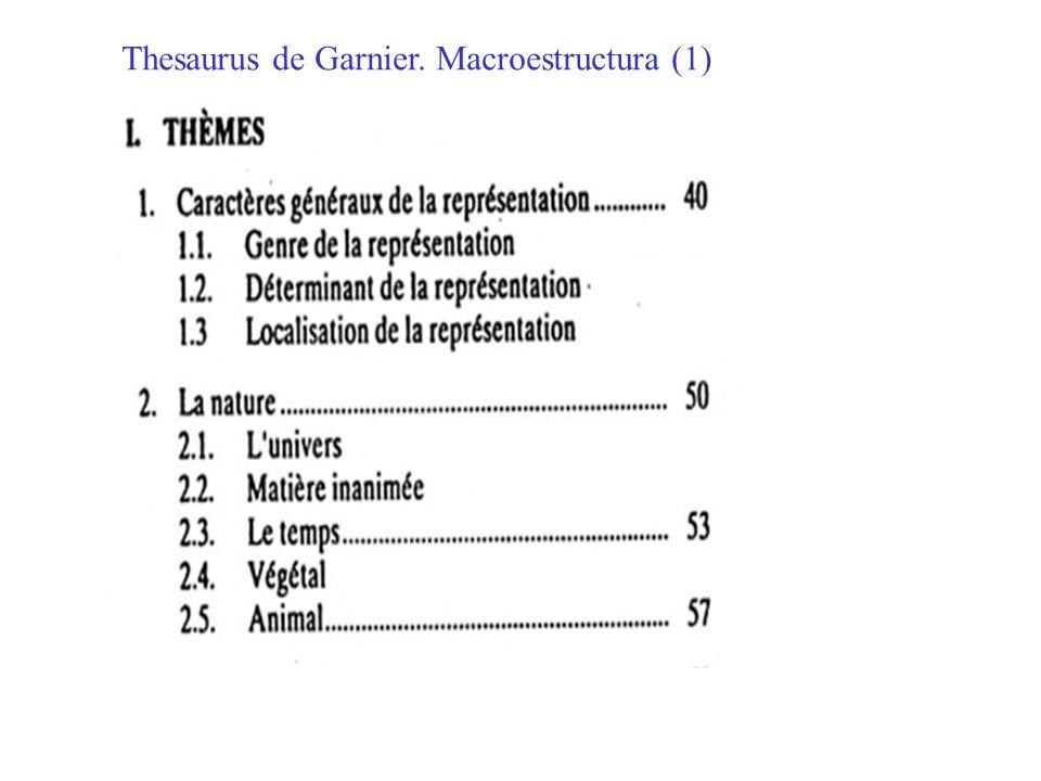 Thesaurus de Garnier. Macroestructura (1)