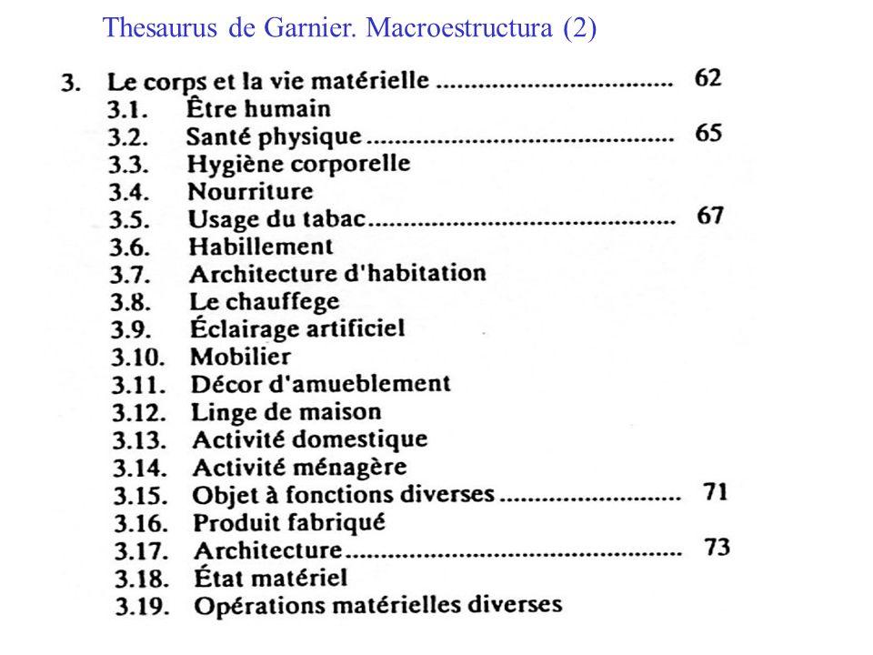 Thesaurus de Garnier. Macroestructura (2)