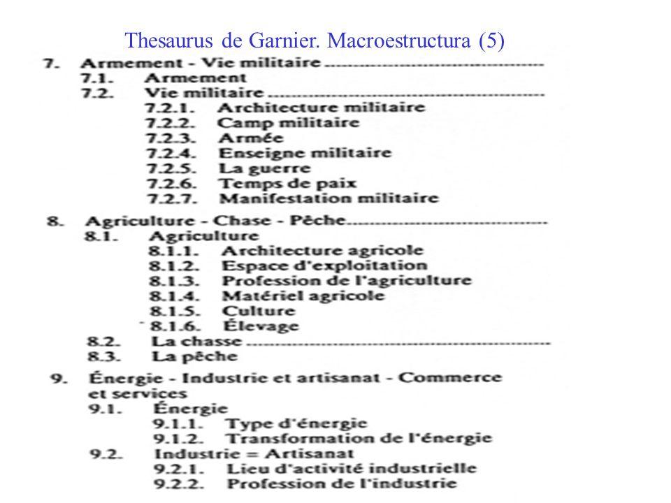 Thesaurus de Garnier. Macroestructura (5)