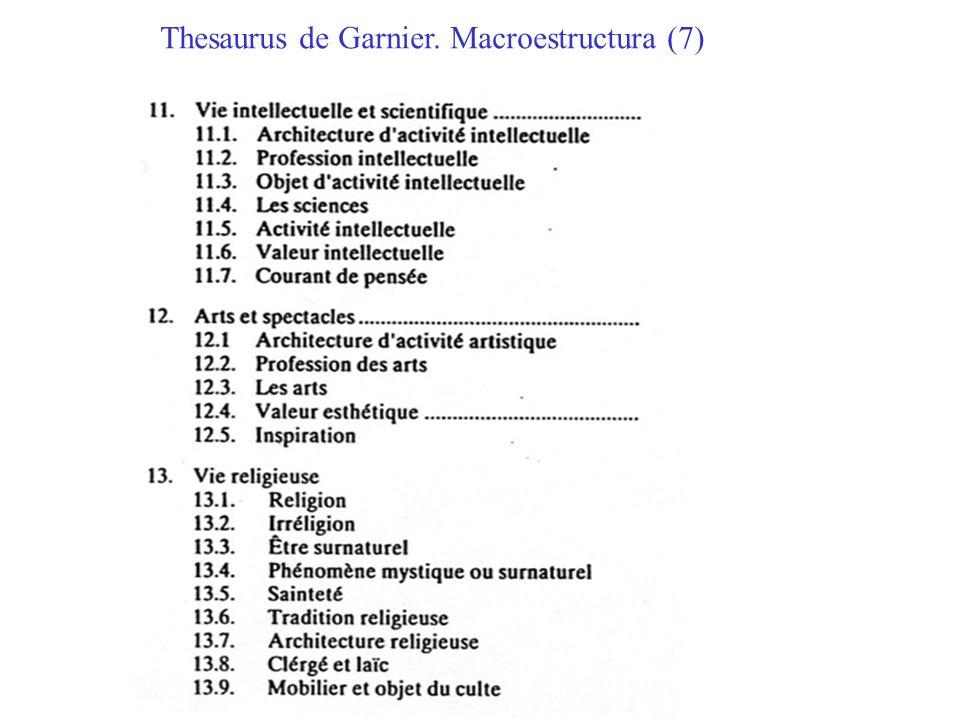 Thesaurus de Garnier. Macroestructura (7)