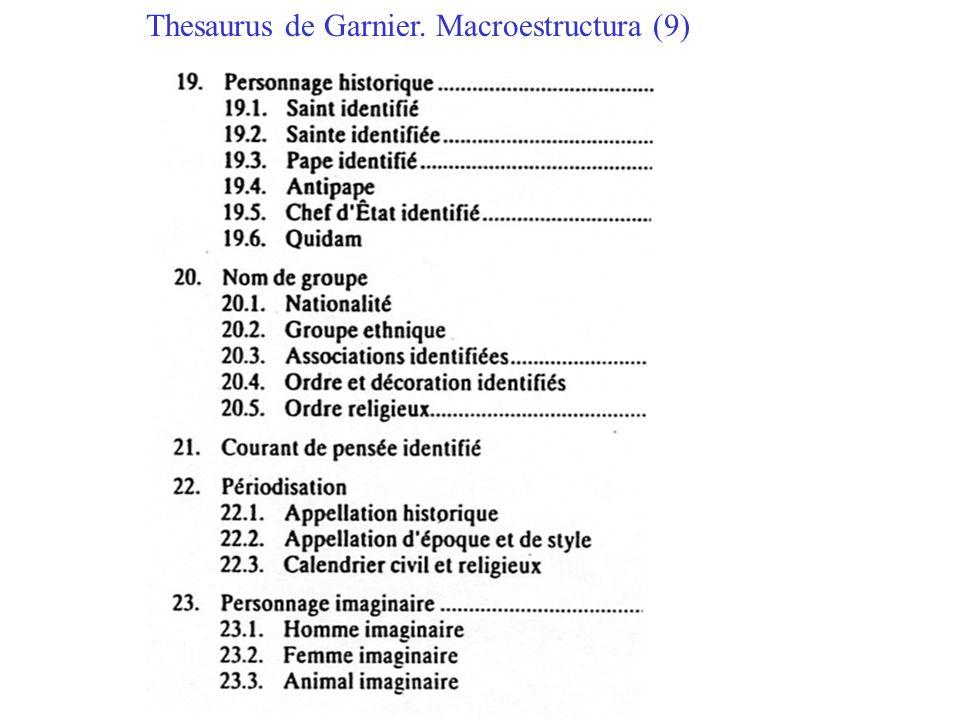 Thesaurus de Garnier. Macroestructura (9)