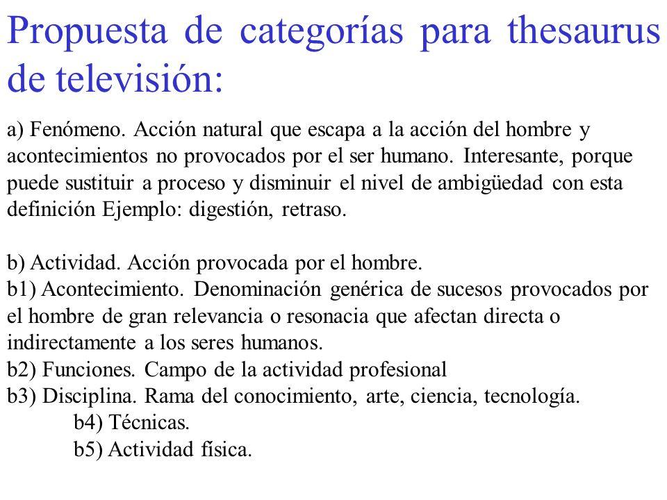 Propuesta de categorías para thesaurus de televisión: a) Fenómeno. Acción natural que escapa a la acción del hombre y acontecimientos no provocados po