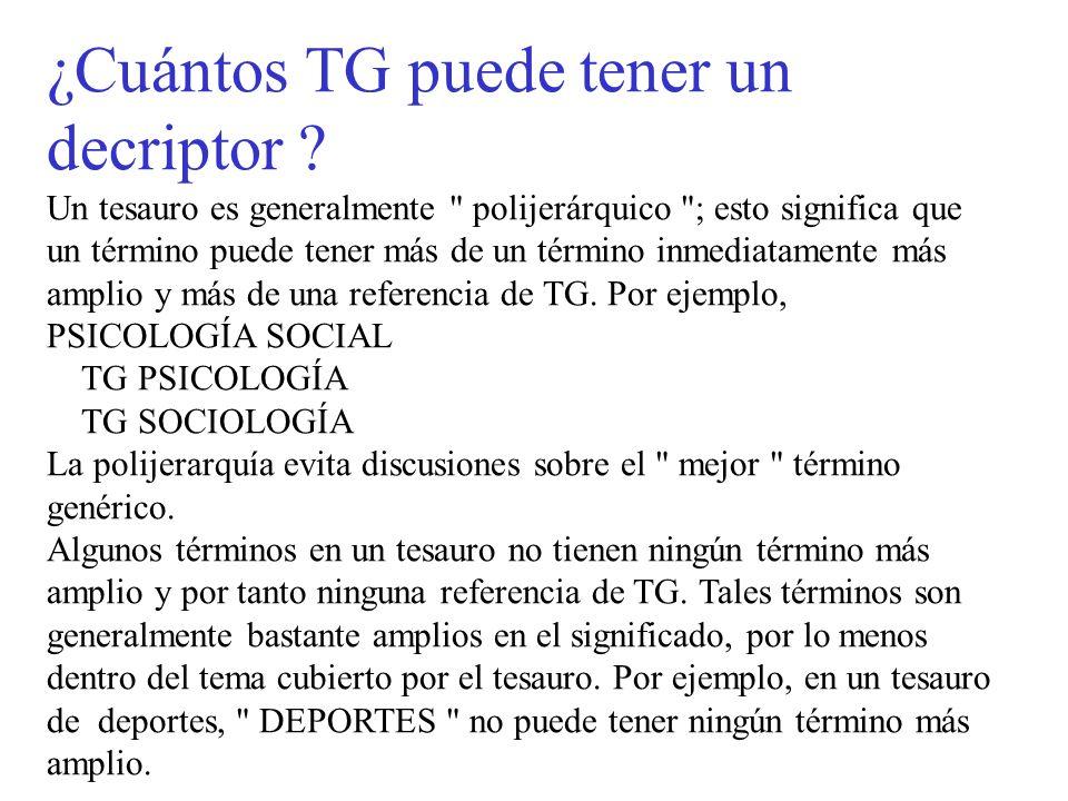 ¿Cuántos TG puede tener un decriptor ? Un tesauro es generalmente