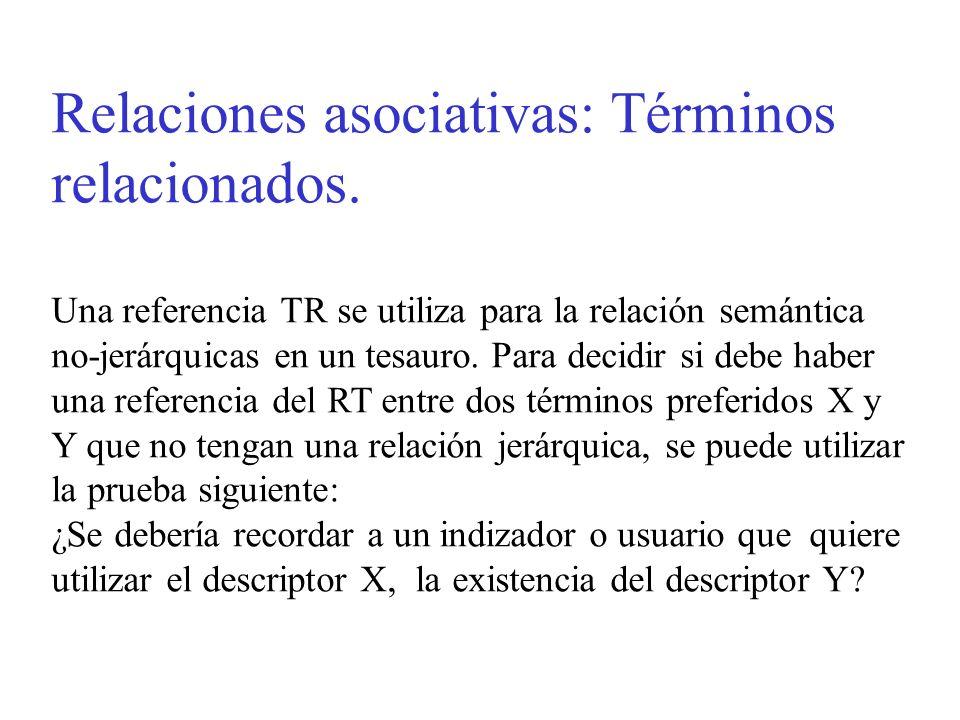 Relaciones asociativas: Términos relacionados. Una referencia TR se utiliza para la relación semántica no-jerárquicas en un tesauro. Para decidir si d