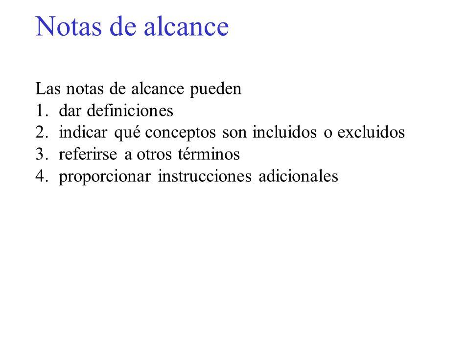 Notas de alcance Las notas de alcance pueden 1.dar definiciones 2.indicar qué conceptos son incluidos o excluidos 3.referirse a otros términos 4.propo
