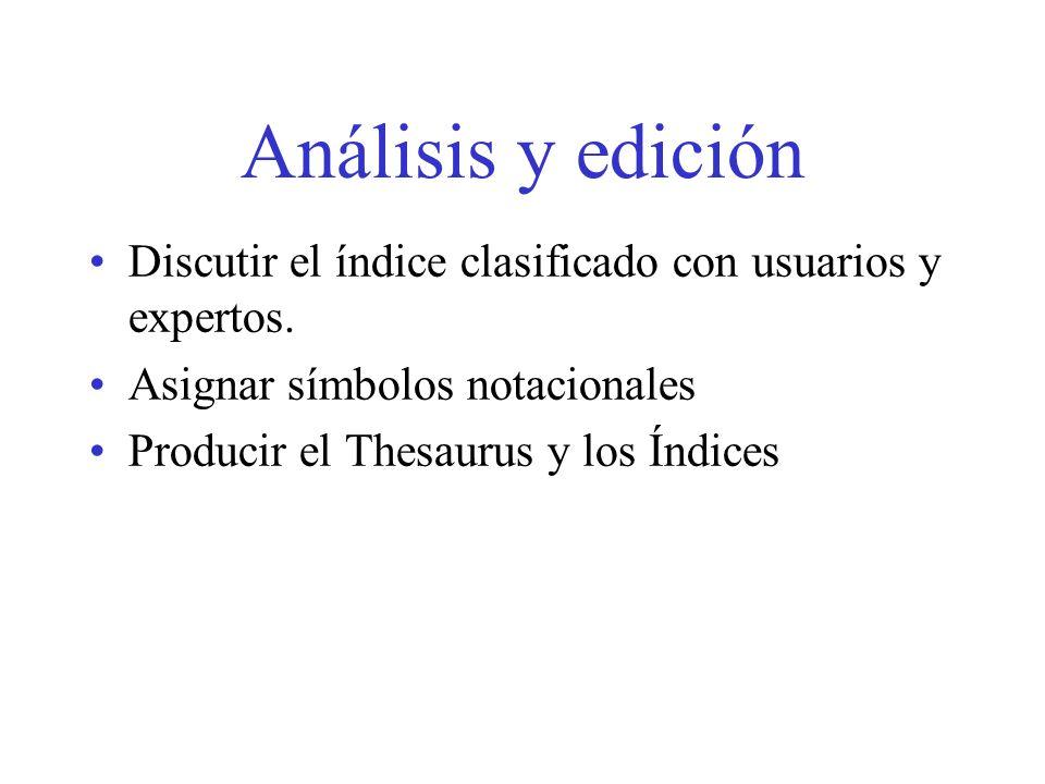 Análisis y edición Discutir el índice clasificado con usuarios y expertos. Asignar símbolos notacionales Producir el Thesaurus y los Índices