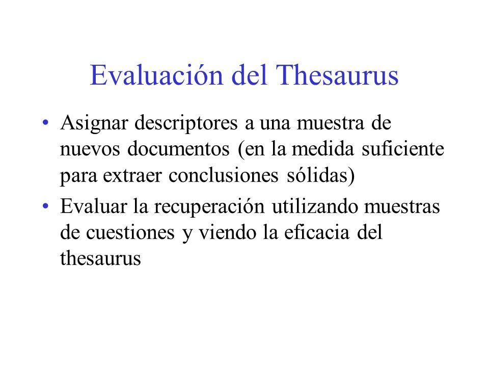 Evaluación del Thesaurus Asignar descriptores a una muestra de nuevos documentos (en la medida suficiente para extraer conclusiones sólidas) Evaluar l
