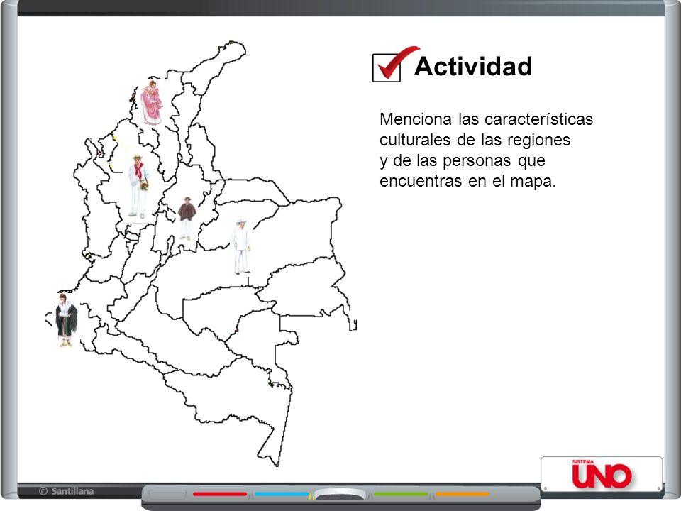 Menciona las características culturales de las regiones y de las personas que encuentras en el mapa.